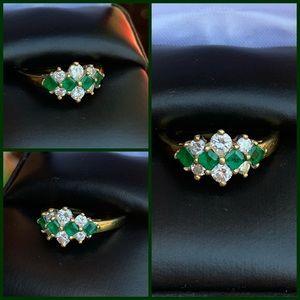 MAYORS 18K Gold Emerald & 0.50 ctw Diamond Ring